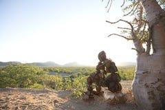 Lone Stone man of the Kaokoland. Contemplating existence. Marble. Kaokoland. Namibia royalty free stock images