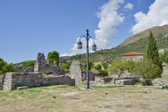 Lone streetlight among ancient ruins. Lone streetlight among old ruins of Old Bar town, Montenegro Stock Images