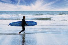 Lone Surfer. A lone surfer prepares to brave the waves Royalty Free Stock Photography