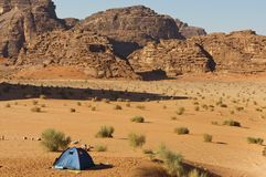 Lone tent in the Wadi Rum Royalty Free Stock Photo