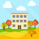 Lone three-storey house in a field with an yellow trees. Vector illustration Stock Image