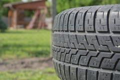 Lone tire in the garden Stock Photo