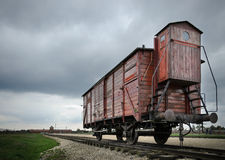 Lone train cab in concentration camp - (Auschwitz II), Poland, Royalty Free Stock Photos