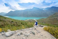 Lone traveler at Jotunheimen national park Stock Image
