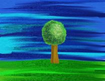 Lone tree stock illustration