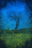 Lone tree grunge background Royalty Free Stock Photo