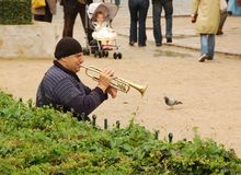A lone trumpeter on the streets of Paris Stock Photography