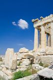 Lone visitor to the Acropolis. View of the Acropolis, Athens, with perfect sightseeing weather royalty free stock photo