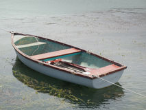 Lone white boat floating. In the Balaton lake Royalty Free Stock Images