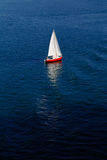 A lone white sail on a calm blue sea Royalty Free Stock Photography
