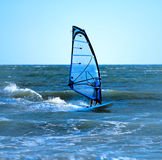 Lone windsurfer. Lone anonymous windsurfer in the ocean catching a wave stock images
