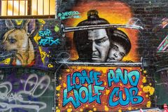 Lone wolf and cub graffiti. Graffiti of Lone wolf and cub in Hosier lane in Melbourne, Australia royalty free stock photos