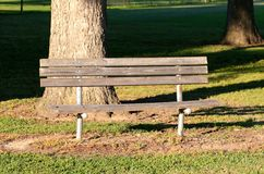 A lone wooden bench in a secluded park Stock Photo
