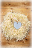 Lone wooden heart in a love nest Stock Image