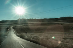 Loneley Road in Spain near Madrid Royalty Free Stock Photo