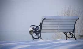 Loneliness. Snowed bench with view on the sea Royalty Free Stock Image