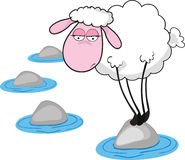 Loneliness. Vector illustration of sad sheep standing on stone Royalty Free Stock Photo