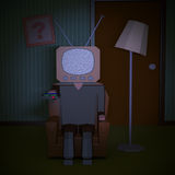 Loneliness and alienation. One cartoon man with an old tv instead of the head, concept of alienation and loneliness (3d render Royalty Free Stock Images