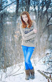 The loneliness. Beautiful lonely girl in winter forest Stock Photos