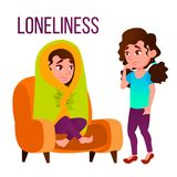 Loneliness Cartoon Vector Poster Template With Text. Girl Alone, Loneliness, Depression, Sadness. Woman Sitting Under Blanket Isolated Clipart. Schizophrenia vector illustration
