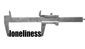 Loneliness. Color horizontal shot of a caliper and measuring the word loneliness Royalty Free Stock Photo