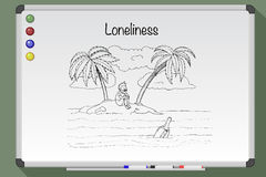 Loneliness concept. Desert tropical island. Hand drawn  stock illustration. Black and white whiteboard drawing Royalty Free Stock Images