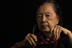 Loneliness elder woman Royalty Free Stock Photography