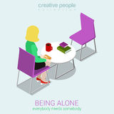 Loneliness flat 3d web isometric infographic concept  Stock Photography