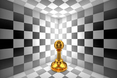 Loneliness (gold pawn-chess metaphor). 3D illustration rendering stock image
