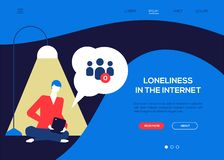 Loneliness in the Internet - colorful flat design style web banner. With copy space for text. Website header with a sad boy sitting alone with a tablet, having stock illustration