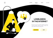 Loneliness in the Internet - flat design style web banner. With copy space for text. Black, yellow and white website header with a sad boy sitting with a tablet vector illustration