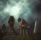 Loneliness Man Loss of Mother Grieving Tombstone Illustration. A middle-age man grieving over the loss of his only kinship mother Royalty Free Stock Photo