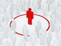 Loneliness man surrounded red circle among crowd (3D render). Loneliness man surrounded red circle among crowd Stock Images