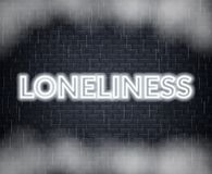 Loneliness neon lettering. Sad mood. Vector illustration. EPS 10 vector illustration