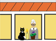 Loneliness in old age. Old lady with cat and flower in window of house, concept image describes idea of loneliness of people in old age stock illustration