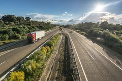 The loneliness of road transport during a Saturday royalty free stock images