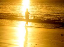 Loneliness. Silhouette of man at sunset loneliness concept royalty free stock photo