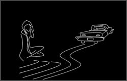 Loneliness. A single woman and a car leaving. Illustration, background stock illustration