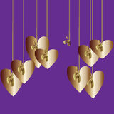 Loneliness. Violet background with hanging gold twin hearts on the ribbon and only one ribbon is without heart. Lonesomeness Royalty Free Stock Photos
