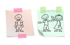 Loneliness vs happy love on paper sheets vector concept. Couple boyfriend and girlfriend love and sketchy lonely illustration royalty free illustration