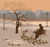 Loneliness, a walk in the park man. Card advertising the park lonely man on the bench Stock Photography