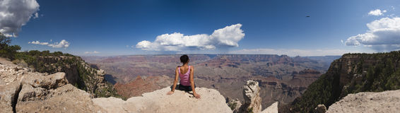 Loneliness Woman In Grand Canyon Panoramic Stock Image