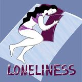 Loneliness with woman. A lonely woman is sleeping alone. Vector compass with the inscription `Loneliness stock illustration
