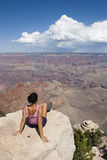 Loneliness women in Grand Canyon USA Royalty Free Stock Images