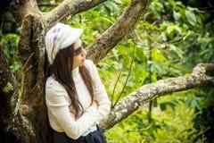 Loneliness women under the cherry tree. Loneliness woman under the cherry tree1 Royalty Free Stock Photos