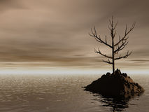 Lonely. Rock in the dark ocean Royalty Free Stock Photo