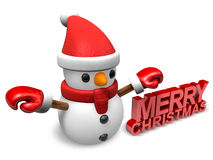 Lonely 3d little snowman Stock Photography