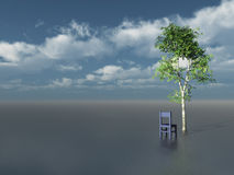 Lonely. Tree and chair in front of blue cloudy sky - 3d illustration Royalty Free Stock Photography