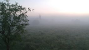 Lonely Tree in the Fog. A lonely abandoned house in the village and a lonely tree stand in the fog at dawn stock video footage