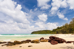 Lonely abandoned tropical beach. Thailand authorities police toughens visa regime, Many foreigners living in country, gone home / Lonely abandoned tropical beach stock photography